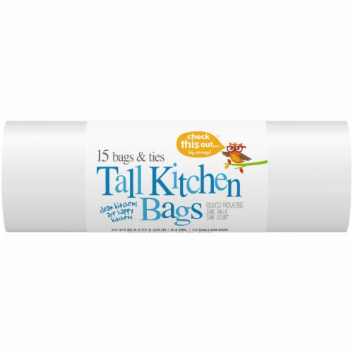 Check This Out™ 13 Gallon Tall White Kitchen Bags Perspective: front