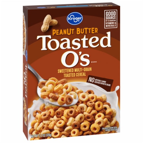 Kroger® Peanut Butter Sweetened Multi-Grain Toasted Cereal Perspective: front