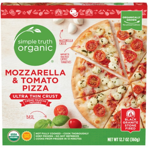 Simple Truth Organic™ Mozzarella & Tomato Ultra-Thin Crust Pizza Box Perspective: front