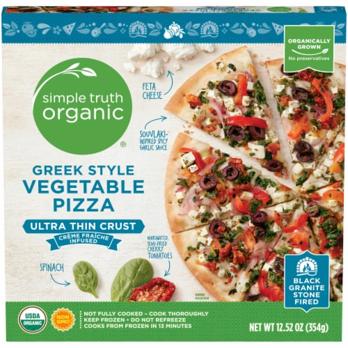 Simple Truth Organic® Ultra Thin Crust Greek Style Vegetable Pizza Perspective: front