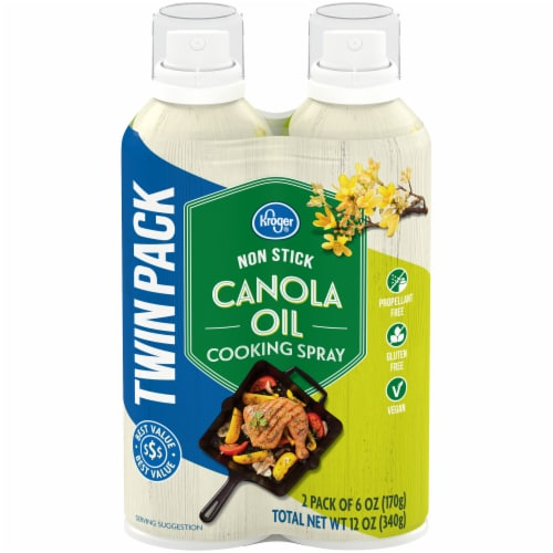 Kroger® Nonstick Canola Oil Cooking Spray Twin Pack Perspective: front