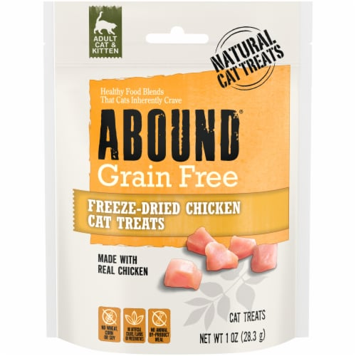 Abound Grain Free Freeze-Dried Chicken Cat Treats Perspective: front