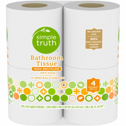 Simple Truth® 100% Recycled Bath Tissue Double Rolls Perspective: front