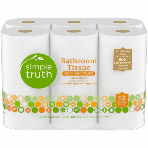 Simple Truth™ 100% Recycled Hypoallergenic Double Rolls Bathroom Tissue Perspective: front