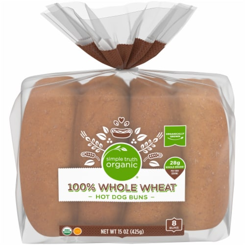 Simple Truth Organic® Whole Wheat Hot Dog Buns 8 Count Perspective: front
