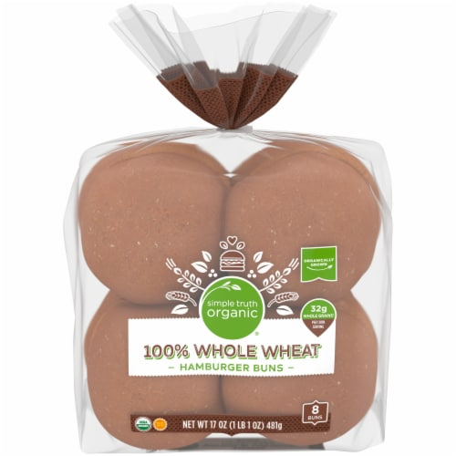 Simple Truth Organic® 100% Whole Wheat Hamburger Buns Perspective: front