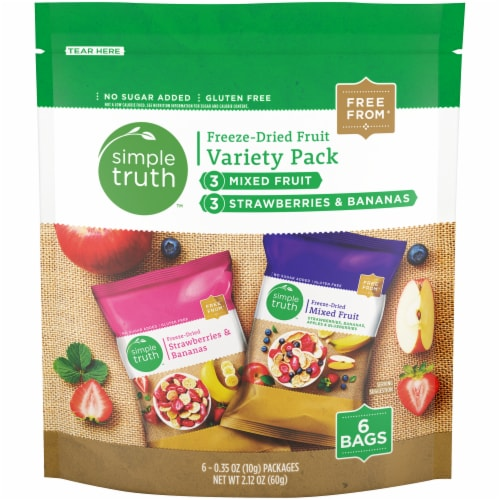 Simple Truth™ Mixed Fruit & Strawberry Banana Freeze Dried Fruit Variety Pack Perspective: front