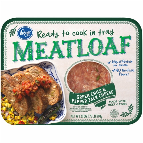 Kroger® Green Chile & Pepper Jack Cheese Ready to Cook in Tray Meatloaf Perspective: front