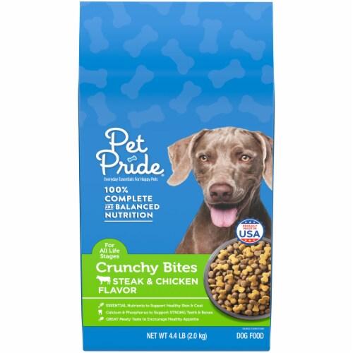 Pet Pride™ Crunchy Bites Steak & Chicken Flavor Dog Food Perspective: front