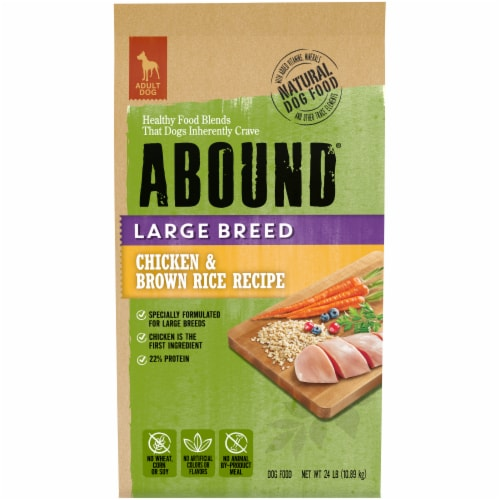 Abound Large Breed Chicken and Brown Rice Dog Food Perspective: front