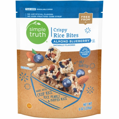 Simple Truth® Gluten Free Almond Blueberry Crispy Rice Bites Bag Perspective: front