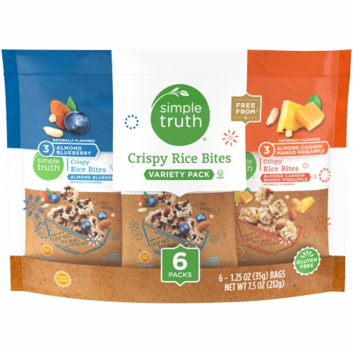 Simple Truth™ Almond Blueberry/Almond Cashew Crispy Rice Bites Variety Pack 6-1.25 oz Bags Perspective: front
