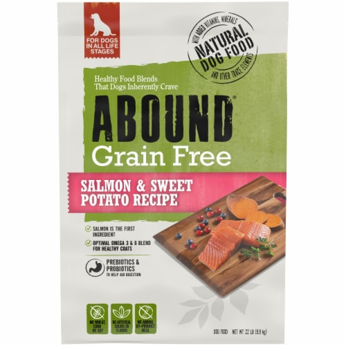 Abound® Grain Free Salmon & Sweet Potato Recipe Adult Dog Food Perspective: front