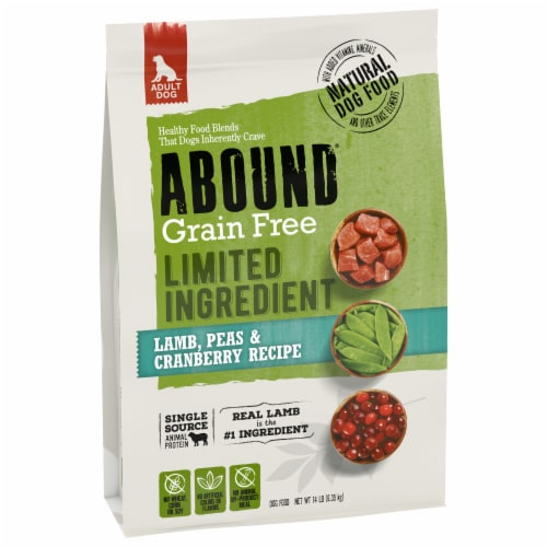 Abound Grain Free Limited Ingredient Lamb Peas & Cranberry Recipe Adult Dog Food Perspective: front