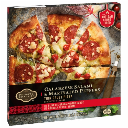 Private Selection® Calabrese Salami & Marinated Peppers Thin Crust Pizza Perspective: front