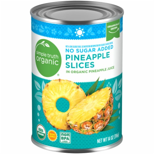 Simple Truth Organic® No Sugar Added Pineapple Slices in 100% Juice Perspective: front