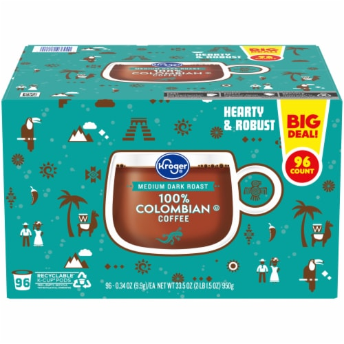 Kroger® 100% Colombian Single Serve Coffee Pods Box Perspective: front