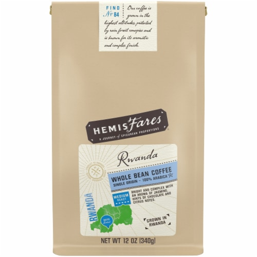 HemisFares Medium Roast Rwanda Whole Bean Coffee Perspective: front
