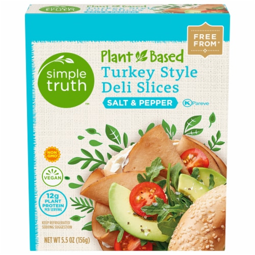 Simple Truth™ Plant-Based Salt & Pepper Turkey Style Deli Slices Box Perspective: front