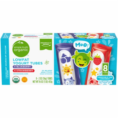 Simple Truth Organic™ Strawberry & Blueberry Lowfat Yogurt Tubes Perspective: front