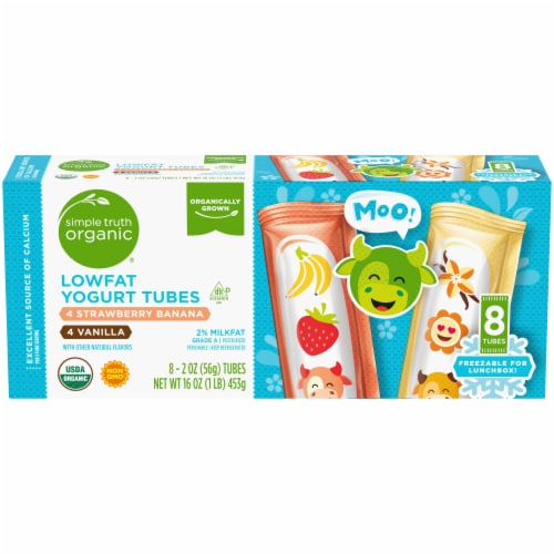 Simple Truth Organic® Strawberry Banana & Vanilla Lowfat Yogurt Tubes Perspective: front