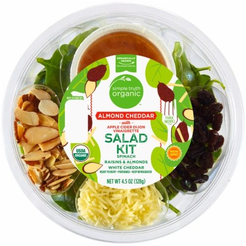 Simple Truth Organic™ Almond Cheddar with Apple Cider Dijon Vinaigrette Salad Kit Perspective: front