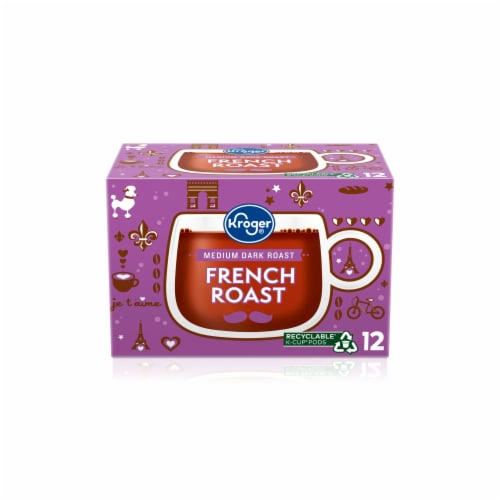 Kroger® Medium Dark Roast French Roast Coffee K-Cup Pods Perspective: front