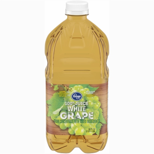 Kroger® 100% White Grape Juice From Concentrate No Sugar Added Bottle Perspective: front
