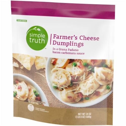Simple Truth™ Farmer's Cheese Stuffed Dumplings with Grana Padano Bacon Carbonara Sauce Perspective: front
