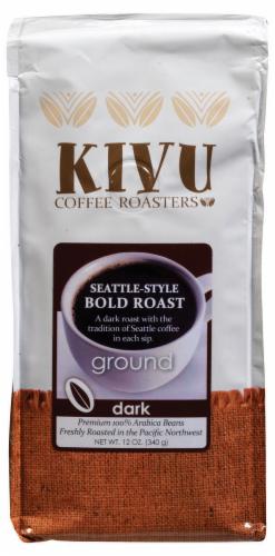 Kivu Seattle-Style Bold Roast Dark Ground Coffee Perspective: front