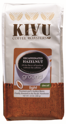 Kivu Hazelnut Decaf Light Roast Ground Coffee Perspective: front