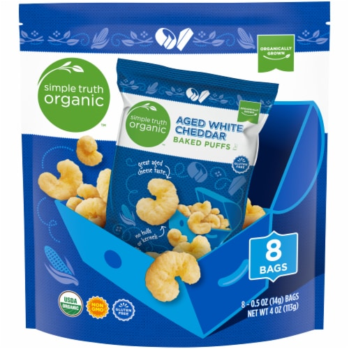 Simple Truth Organic™ Aged White Cheddar Baked Puffs Perspective: front