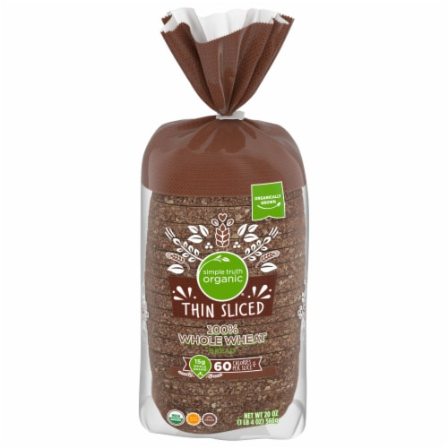 Simple Truth Organic® 100% Whole Wheat Thin Sliced Bread Perspective: front