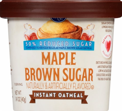 Kroger® Reduced Sugar Maple Brown Sugar Instant Oatmeal Cup Perspective: front