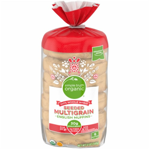 Simple Truth Organic™ 100% Whole Wheat Seeded Multigrain English Muffins 6 Count Perspective: front