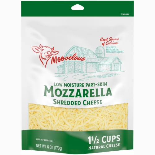 Moovelous Shredded Mozzarella Cheese Perspective: front