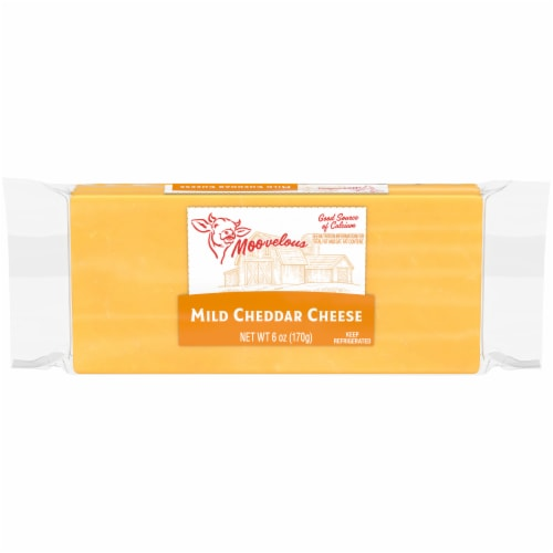 Moovelous Mild Cheddar Cheese Brick Perspective: front