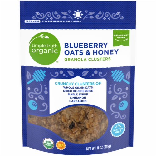 Simple Truth Organic® Gluten Free Blueberry Oats & Honey Granola Clusters Perspective: front