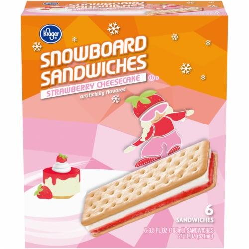 Kroger® Strawberry Cheesecake Ice Cream Snowboard Sandwiches Perspective: front