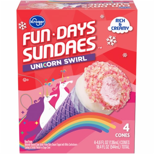 Kroger® Fun Days Sundaes Unicorn Swirl Sundae Cones Perspective: front