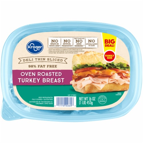 Kroger® Deli Thin Sliced Oven Roasted Turkey Breast Lunch Meat Perspective: front