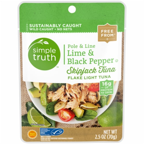 Simple Truth™ Pole & Line Lime & Black Pepper Skipjack Tuna Pouch Perspective: front