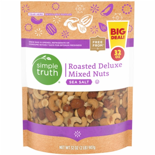 Simple Truth® Sea Salt Roasted Deluxe Mixed Nuts Pouch Perspective: front