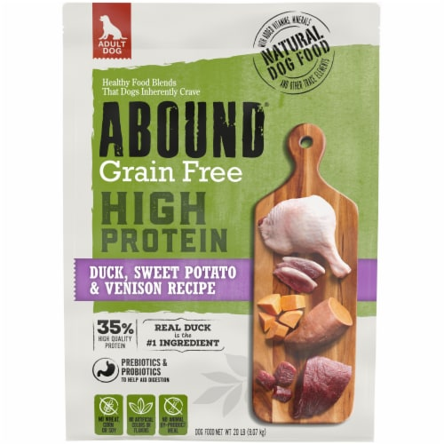 Abound® Grain Free High Protein Duck Sweet Potato & Venison Recipe Dry Dog Food Perspective: front
