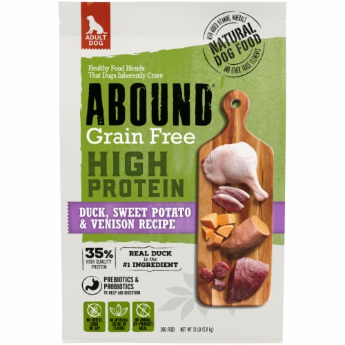 Abound® Grain Free High Protein Duck Sweet Potato & Venison Recipe Adult Dry Dog Food Perspective: front