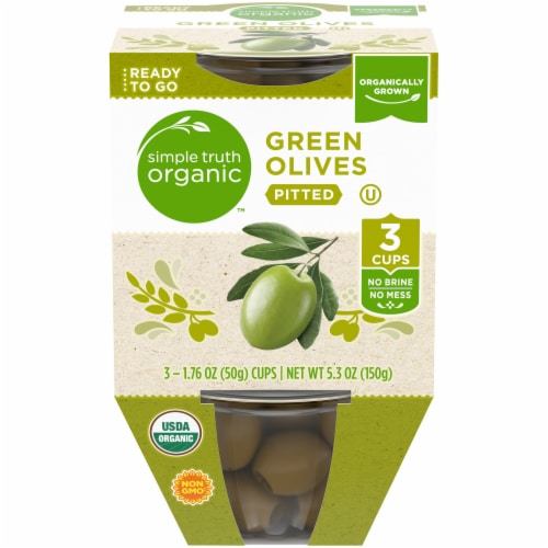 Simple Truth Organic™ Pitted Green Olive Cups Perspective: front