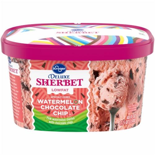 Kroger® Deluxe Lowfat Watermelon Chocolate Chip Sherbert Perspective: front