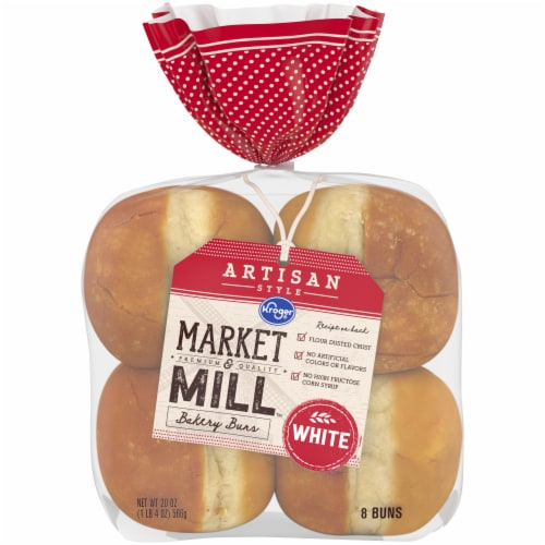 Kroger® Market & Mill™ Artisan Style White Bakery Buns Perspective: front