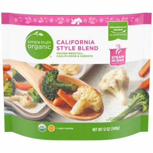 Simple Truth Organic® California Style Blend Frozen Broccoli Cauliflower & Carrots Perspective: front