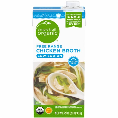 Simple Truth Organic®  Low Sodium Free Range Chicken Broth Perspective: front